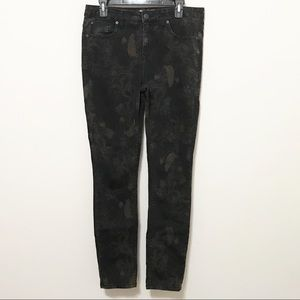 Free People Black Feather & Floral Skinny Jeans